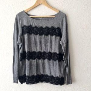 Loft Lace Detail Long Sleeve Shirt
